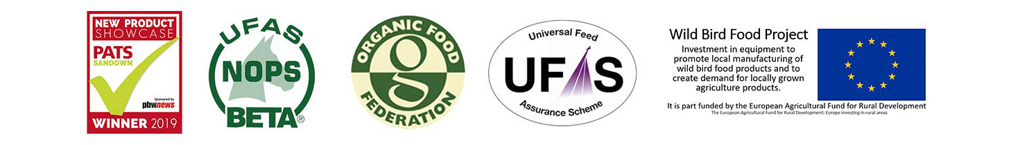 We are accredited to the highest standard including UFAS/NOPS/BETA, Organic Food Federation, UFAS and we are part of the Wild Bird Food Project, We also proud to win the New Product Showcase 2019 award ats PATS.